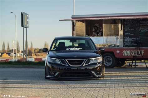 stanced saab   front