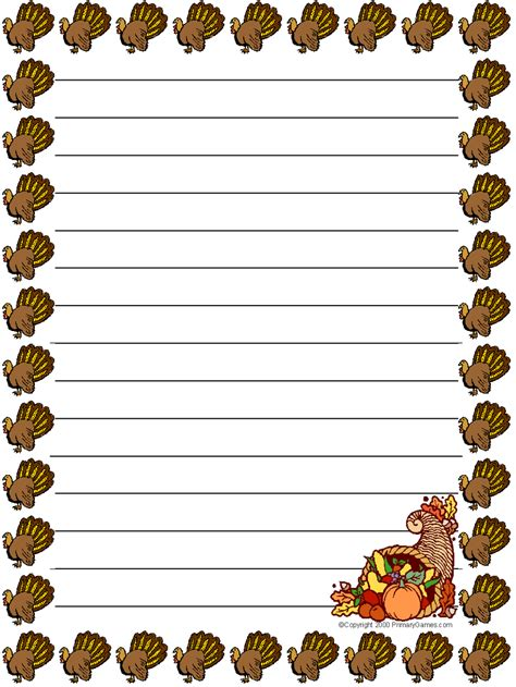 free thanksgiving writing paper stationery primarygames free printable worksheets