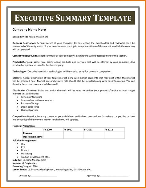 one page executive summary template 19 executive summary template for business plan sba pob