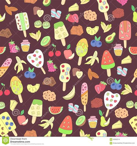 doodle ice cream pattern doodle ice cream fruits berry sweets pattern stock