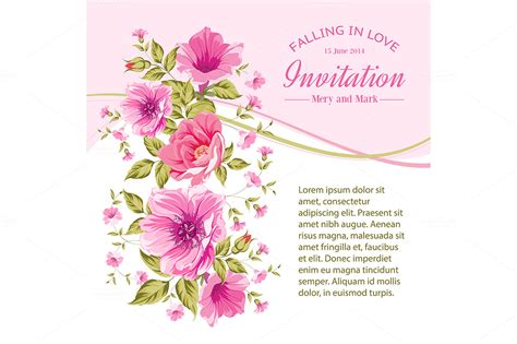 card template for flowers invitation card template with flower card templates on