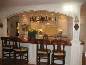 kitchen island incorporating lally columns morris