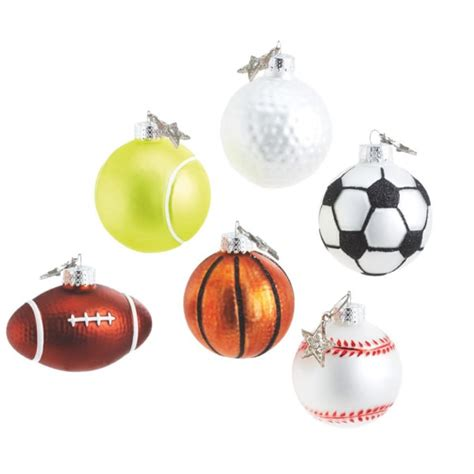 sports ball christmas ornament set of 6