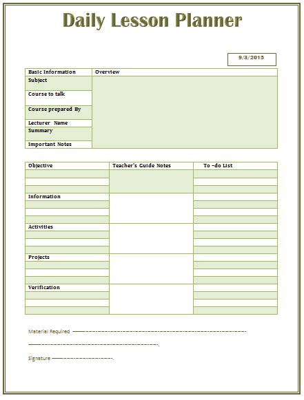high school planner template daily lesson plan template for word png 441 215 581