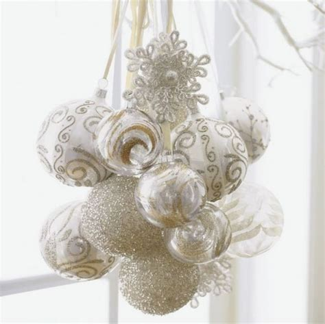 christmas decoration in white cluster of ornaments happy