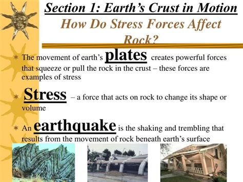 section 1 1 what is earth science ppt section 1 earth s crust in motion how do stress