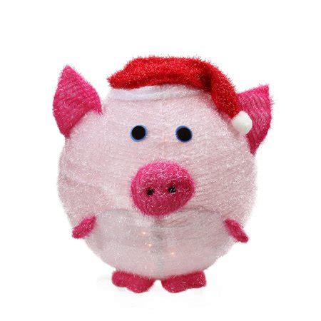 pink christmas pig outdoor decoration 20 quot lighted 3 d chenille pink pig in santa hat outdoor yard decoration