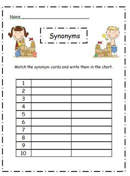 theme synonym music synonym matching cards ocean theme by shelly sitz tpt