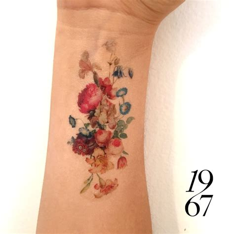 bouquet tattoo vintage floral temporary fresh bouquet of flowers