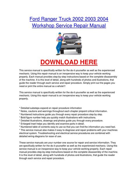how to download repair manuals 2002 ford focus spare parts catalogs ford ranger truck 2002 2003 2004 workshop car service repair manual by fordcarservice issuu