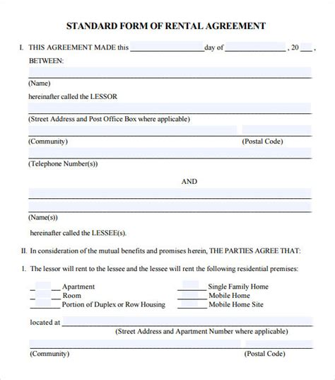 8 Useful Sle Leasing Agreement Templates Sle Templates Standard Rental Agreement Template