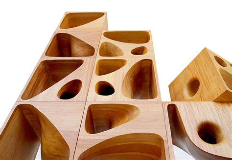 Small Spaces Design sculptural wood cubes designed for playful cats contemporist