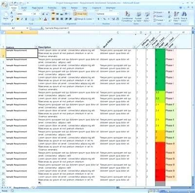 Requirements Spreadsheet Template requirements gathering template requirement spreadsheet