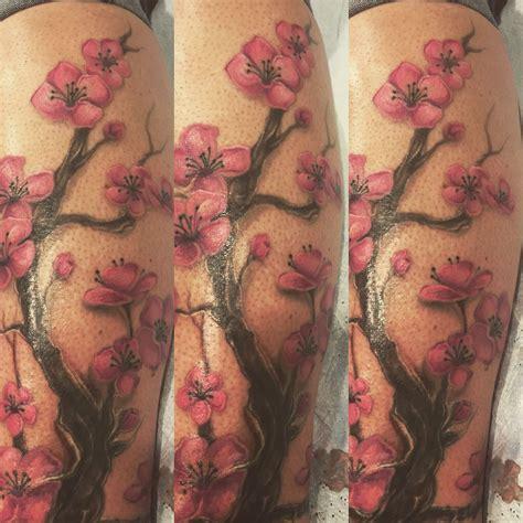 tattoo cover up calf mattmooneyham cherry blossom coverup tattoo cherry blossom