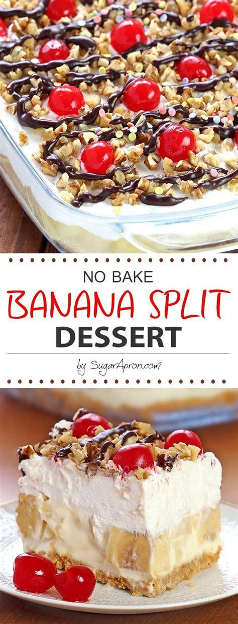 no bake banana split dessert sugar apron