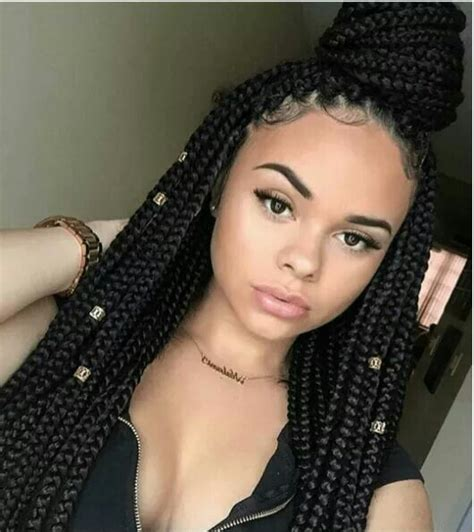 girls hair block braiding styles box braided queen try more box braid styles here http