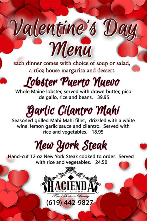 valentines dinner specials hacienda casa blanca offers a special s day dinner