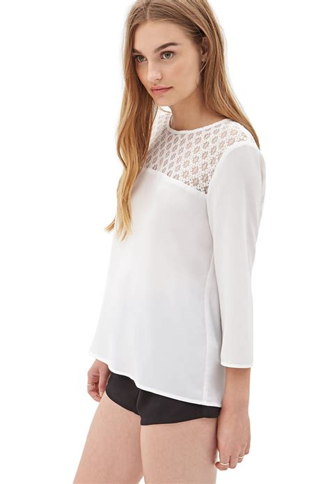 Forever21 Batik Blouse 1 lyst forever 21 lace paneled chiffon blouse you ve been added to the waitlist in white