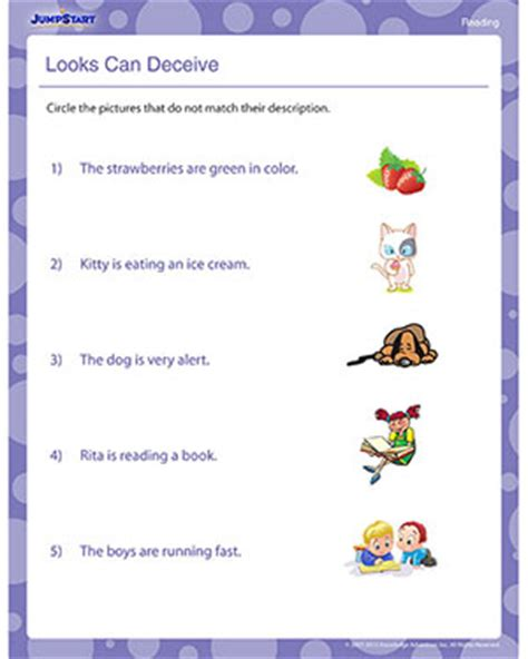 printable worksheets jumpstart looks can deceive free 1st grade reading worksheets