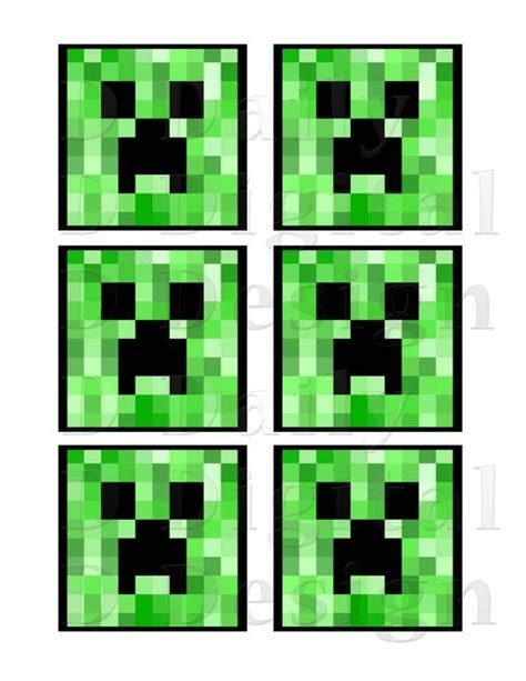 printable images minecraft minecraft creeper diy printable 3 inch squares for cookie