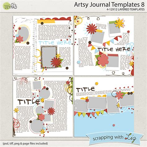 scrapbook journaling templates digital scrapbook template artsy journal 8 scrapping