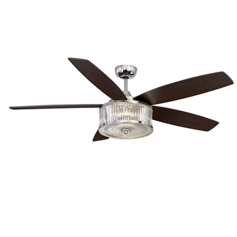 Filament Design 56 In Led Indoor Outdoor Polished Nickel Drum Style Ceiling Fan