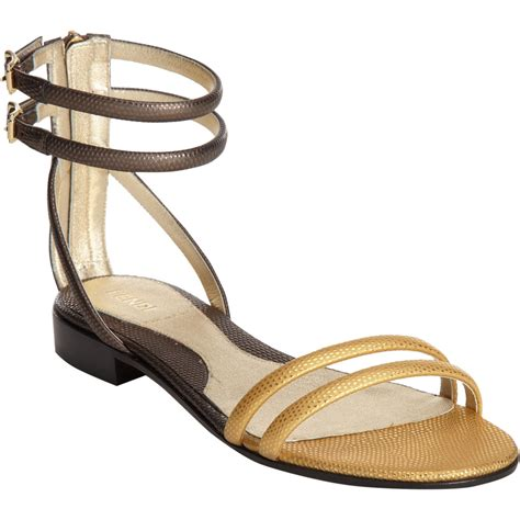 gold tone sandals fendi sted two tone flat sandals in gold lyst