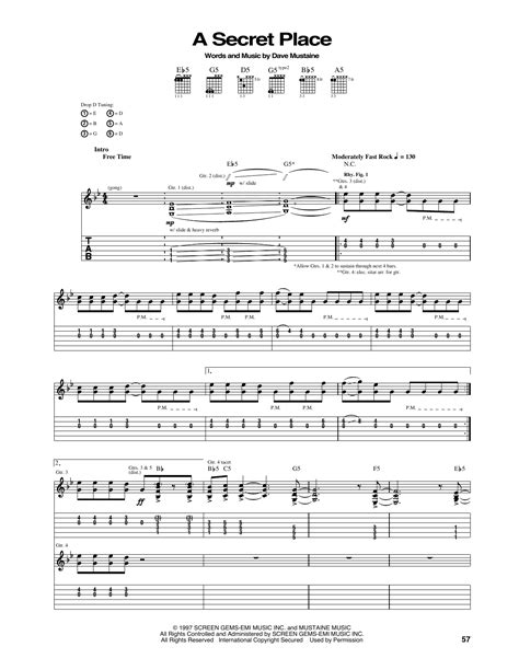 secret guitar tab a secret place guitar tab by megadeth guitar tab 166008