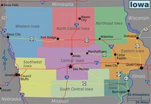 Map Of The State Of Iowa by Large Regions Map Of Iowa State Iowa State Large Regions