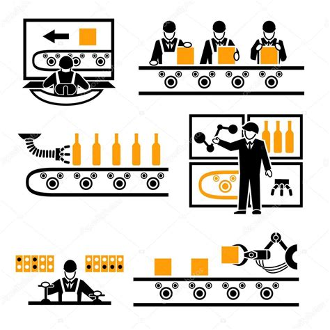 production symbols factory production process icons stock vector 169 mssa