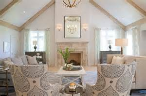 Waterfall Valances Whitewashed Wood Ceiling Beams Design Ideas