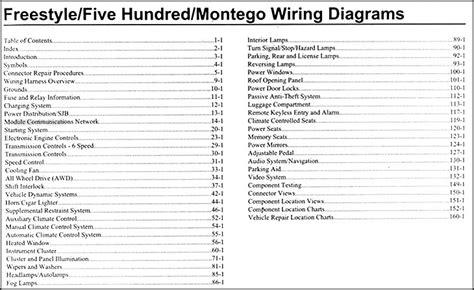 freestyle  montego wiring diagram manual original