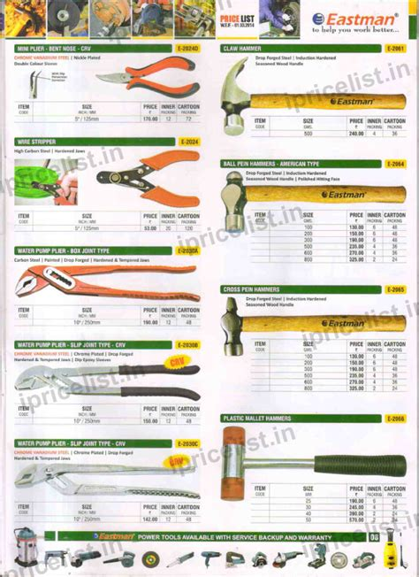 list of tools eastman tools price list eastman spanners price