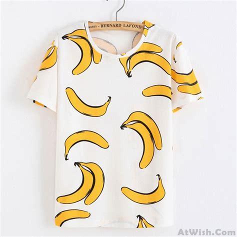 Print Fruit T Shirt fresh yellow banana printed cotton fruit white t
