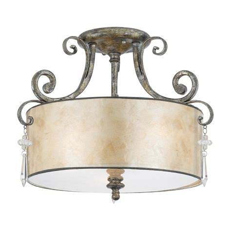 quoizel kd1716mm 3 light kendra semi flush ceiling fixture