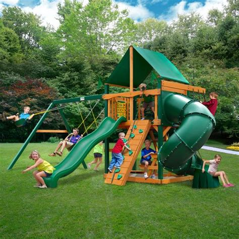 swing set with clubhouse gorilla playsets mountaineer clubhouse swing set with