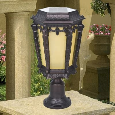 solar powered pillar lights 17 high traditional style decorative bright solar