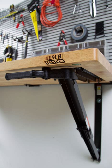 bench solution folding garage workbench space saver bench solution
