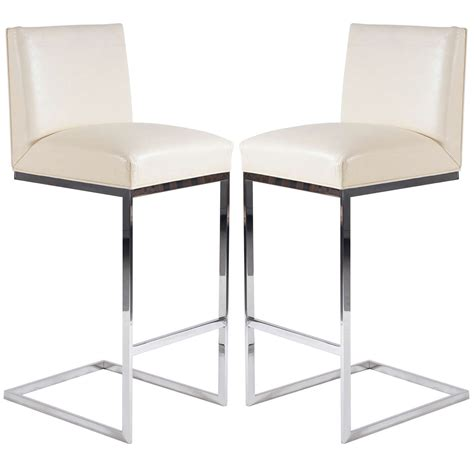 polished stainless steel counter stools pair of bar stools in leather polished stainless steel by