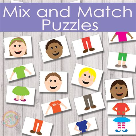 printable toddler puzzles mix and match puzzles free kids printable