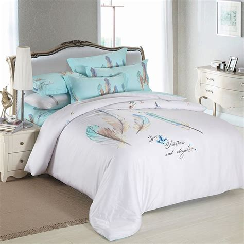 queen size feather comforter 2016 new 4 pieces blue feather luxury bedding sets king