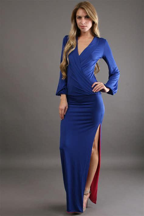 double drape savee couture long dress double drape front in blue royal