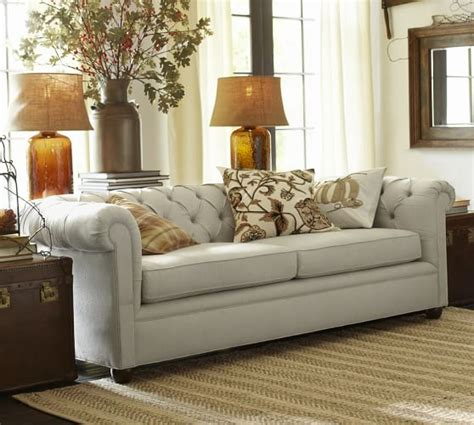 chesterfield upholstered sofa pottery barn