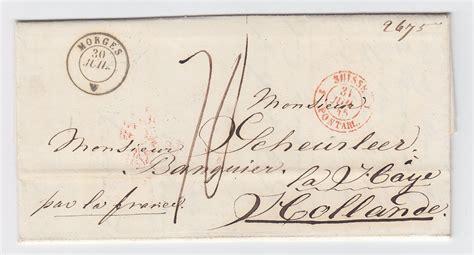 schweiz nl 1845 k2 morges auf porto brief nach