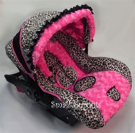 cheetah print infant car seat custom boutique cheetah minky pink rosette by