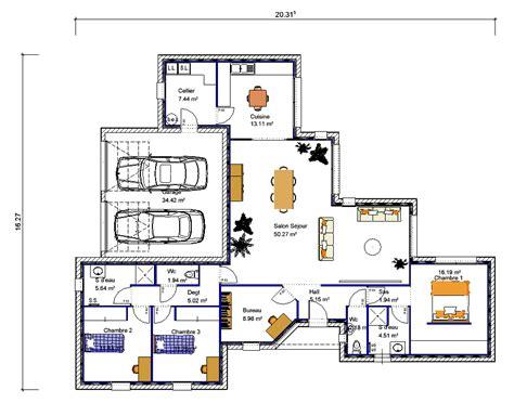plan maison plain pied 3 chambres 1 bureau maison de plain pied en quot v quot 3 chambres crea05