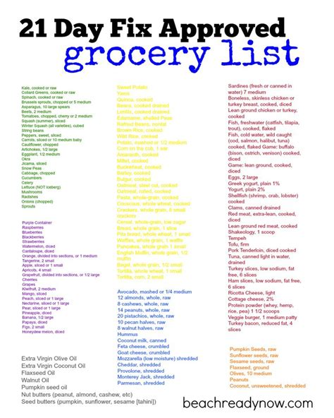 21 Day Sugar Detox Shopping List by 21 Day Fix Food List 21st Clean And Meals