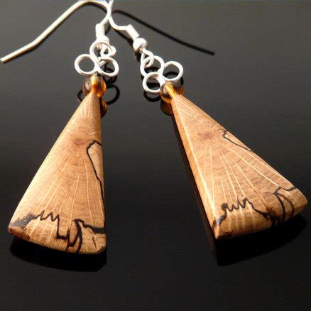 Handmade Wooden Jewelry - handcrafted wooden jewelry spalted oak earrings by