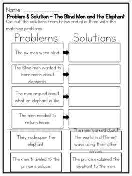 problem and solution reading worksheets the blind men and the elephant problem by kmwhyte s