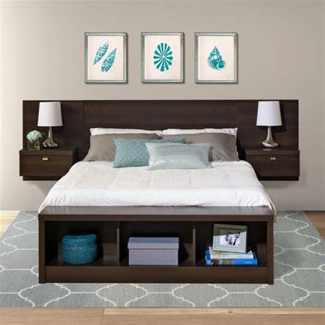 Prepac Series 9 Floating Headboard With Nightstands by Prepac Series 9 Designer Floating Headboard With